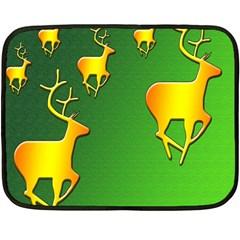 Gold Reindeer Double Sided Fleece Blanket (Mini)