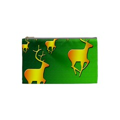 Gold Reindeer Cosmetic Bag (Small)