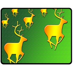 Gold Reindeer Fleece Blanket (Medium)