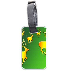 Gold Reindeer Luggage Tags (One Side)