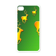 Gold Reindeer Apple iPhone 4 Case (White)