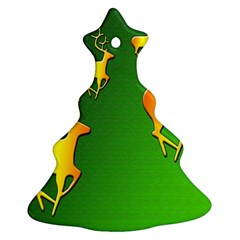 Gold Reindeer Christmas Tree Ornament (Two Sides)