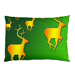 Gold Reindeer Pillow Case (Two Sides)