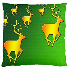 Gold Reindeer Large Cushion Case (one Side)