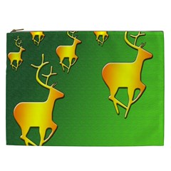 Gold Reindeer Cosmetic Bag (XXL)