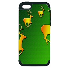 Gold Reindeer Apple iPhone 5 Hardshell Case (PC+Silicone)