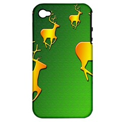 Gold Reindeer Apple Iphone 4/4s Hardshell Case (pc+silicone)