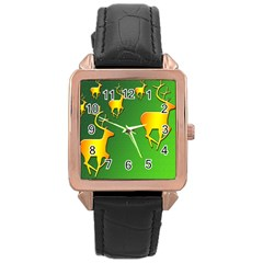 Gold Reindeer Rose Gold Leather Watch