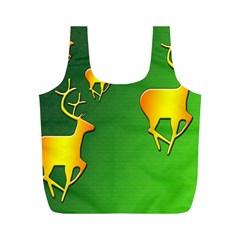 Gold Reindeer Full Print Recycle Bags (m)