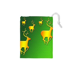 Gold Reindeer Drawstring Pouches (Small)