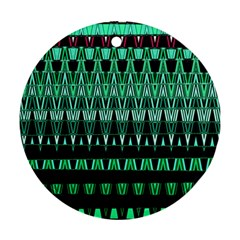 Green Triangle Patterns Ornament (Round)