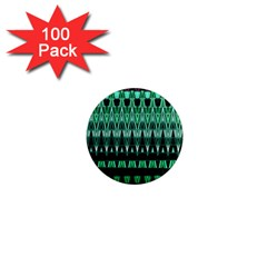 Green Triangle Patterns 1  Mini Magnets (100 pack)