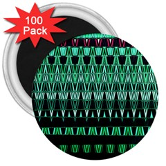 Green Triangle Patterns 3  Magnets (100 pack)