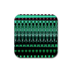 Green Triangle Patterns Rubber Square Coaster (4 pack)
