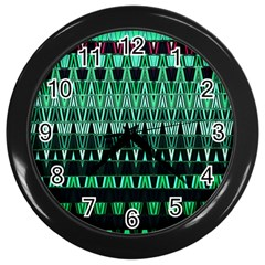 Green Triangle Patterns Wall Clocks (Black)