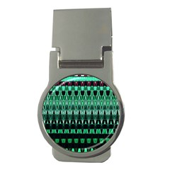 Green Triangle Patterns Money Clips (Round)