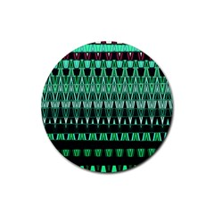 Green Triangle Patterns Rubber Round Coaster (4 pack)