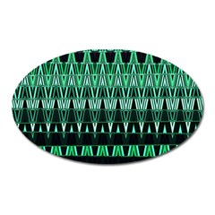 Green Triangle Patterns Oval Magnet
