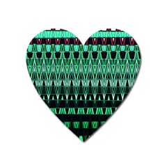 Green Triangle Patterns Heart Magnet