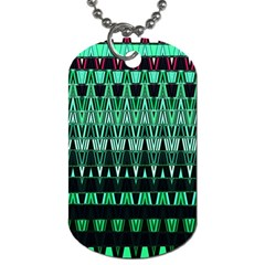 Green Triangle Patterns Dog Tag (One Side)