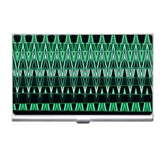 Green Triangle Patterns Business Card Holders
