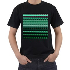 Green Triangle Patterns Men s T-Shirt (Black) (Two Sided)