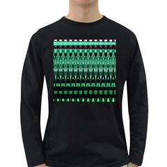 Green Triangle Patterns Long Sleeve Dark T-Shirts