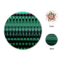 Green Triangle Patterns Playing Cards (round)