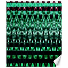 Green Triangle Patterns Canvas 8  x 10