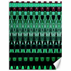 Green Triangle Patterns Canvas 12  x 16