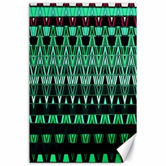 Green Triangle Patterns Canvas 24  x 36