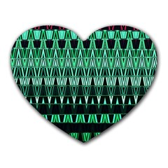 Green Triangle Patterns Heart Mousepads