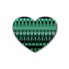 Green Triangle Patterns Rubber Coaster (Heart)