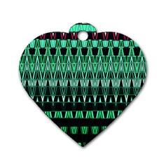 Green Triangle Patterns Dog Tag Heart (One Side)