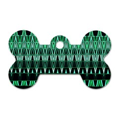 Green Triangle Patterns Dog Tag Bone (One Side)