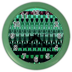 Green Triangle Patterns Color Wall Clocks