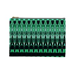 Green Triangle Patterns Cosmetic Bag (Large)