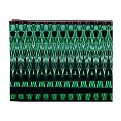 Green Triangle Patterns Cosmetic Bag (XL)