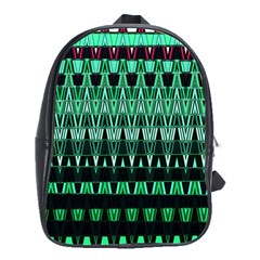 Green Triangle Patterns School Bags(Large)
