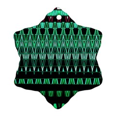 Green Triangle Patterns Snowflake Ornament (two Sides)