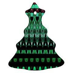 Green Triangle Patterns Christmas Tree Ornament (Two Sides)