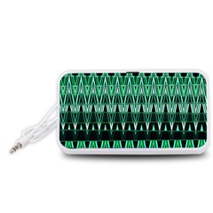 Green Triangle Patterns Portable Speaker (White)