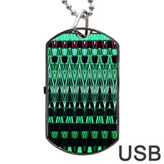 Green Triangle Patterns Dog Tag USB Flash (Two Sides)