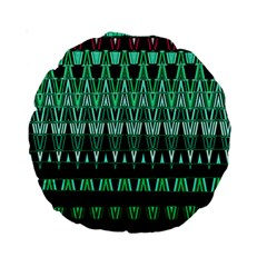 Green Triangle Patterns Standard 15  Premium Round Cushions