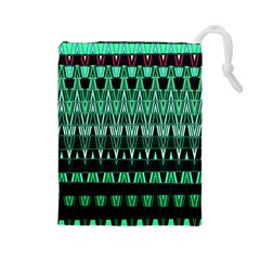 Green Triangle Patterns Drawstring Pouches (Large)