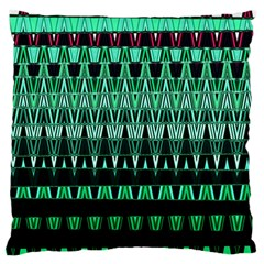Green Triangle Patterns Large Flano Cushion Case (One Side)