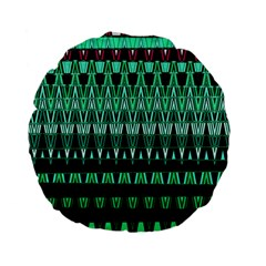Green Triangle Patterns Standard 15  Premium Flano Round Cushions