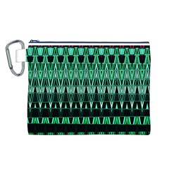Green Triangle Patterns Canvas Cosmetic Bag (l)