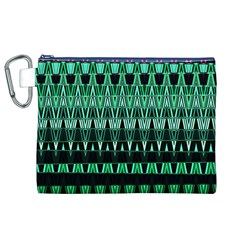 Green Triangle Patterns Canvas Cosmetic Bag (xl)