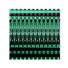 Green Triangle Patterns Small Satin Scarf (square)